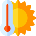 Reduce heat loss - sun and temperature icon