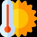 Reduce heat loss - sun and temperature icon